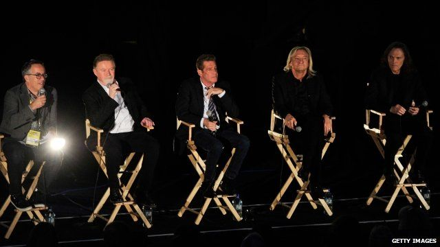 "Director of the Sundance Film Festival John Cooper, Musicians Don Henley, Glenn Frey, Joe Walsh and Timothy B. Schmit of The Eagles speak at the ""History Of The Eagles Part One"" screening during Sundance London Film And Music Festival 2013 at Sky Superscreen O2 on April 25, 2013 in London,"