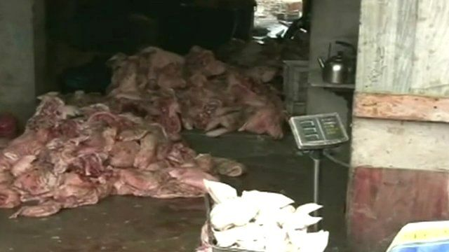 Meat stored in unsanitary conditions