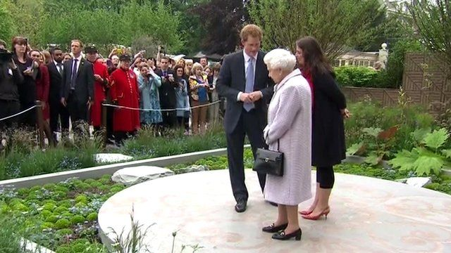 The Queen and Prince Harry at a Chelsea Flower Show garden