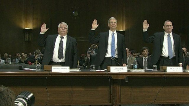 Apple's Tim Cook swears oath ahead of hearing