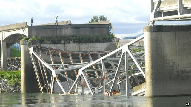 A portion of the Interstate 5 bridge submerged after it collapsed into the Skagit River