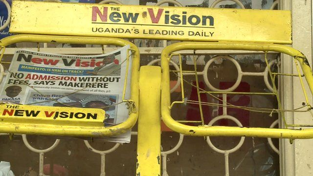 A newspaper stand in Kampala