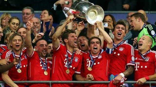 Bayern Munich celebrate winning the Champions League final at Wembley after beating Borussia Dortmund