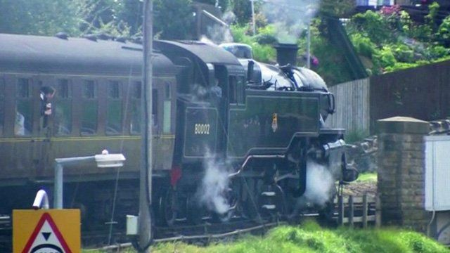 Steam train on Keighley and Worth Valley Railway