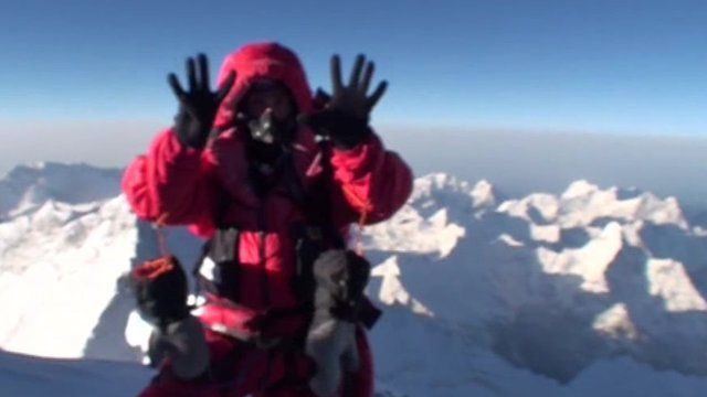 Gloucestershire climber Kenton Cool on top of Everest