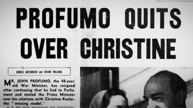 Newspaper headline on John Profumo scandal