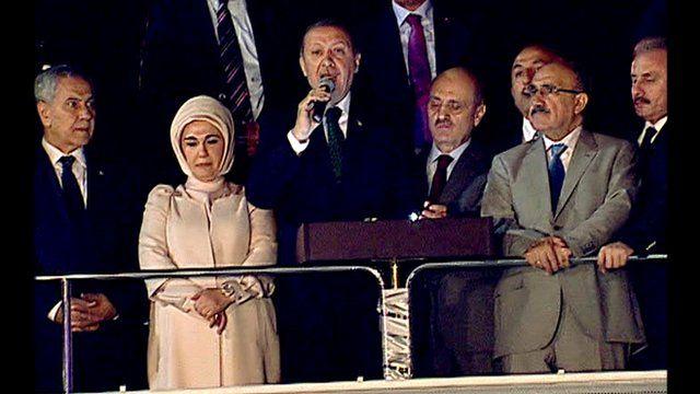 Turkish Prime Minister Recep Tayyip Erdogan addresses crowd
