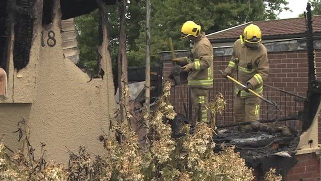 Fire fighters at Stanton bungalow fire