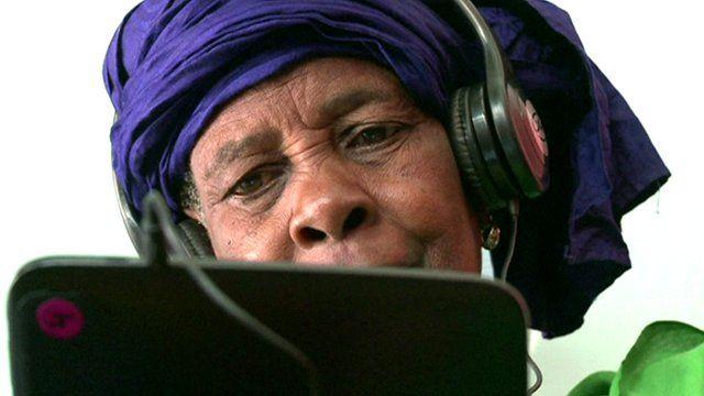 Woman in the Tablet Cafe in Dakar