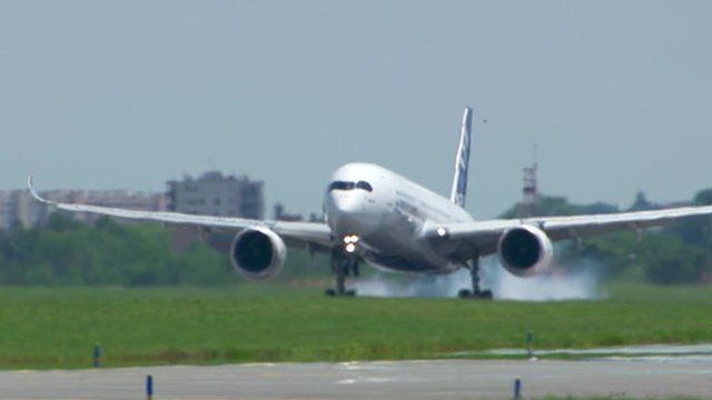 The Airbus A350 lands