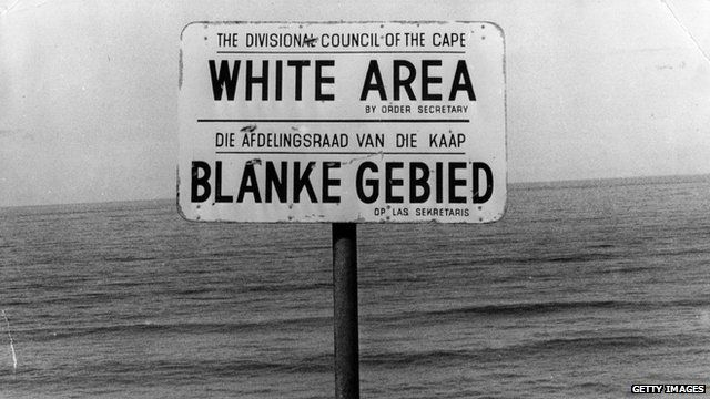 Apartheid-era sign on a beach in South Africa