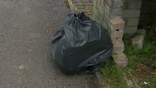 A bin bag on the street