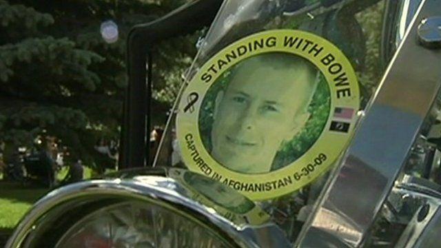 Motorcycle badge supporting Bowe Berghdahl