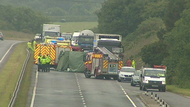 The crash scene on the A30 in Cornwall