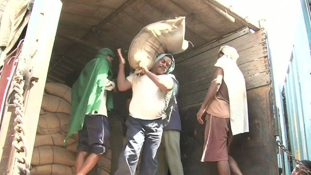 India worker unloads sack of grain