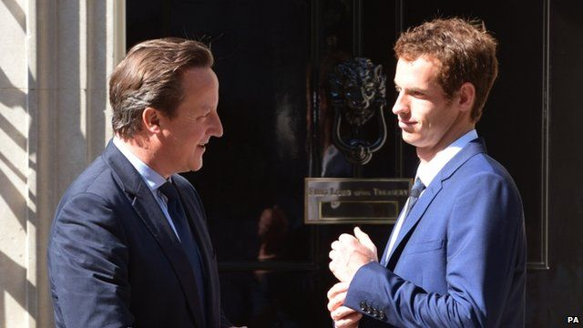 Prime Minister David Cameron greets Andy Murray outside 10 Downing Street