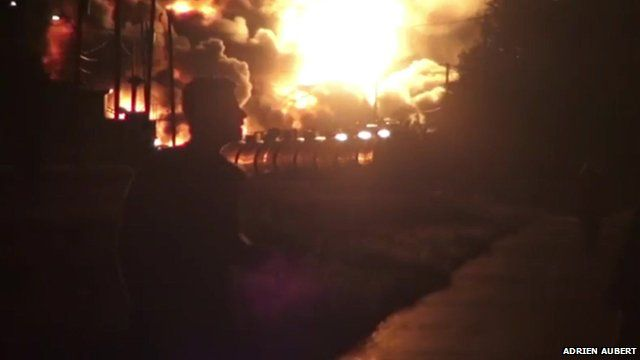 Explosion and oil train