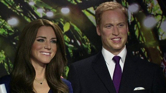 Waxwork models of the Duke and Duchess of Cambridge