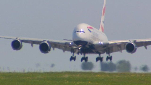 Airbus A380 coming in to land at Manston Airport