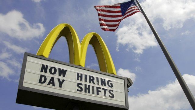 Sign advertising job openings outside a McDonald's restaurant in Chesterland, Ohio