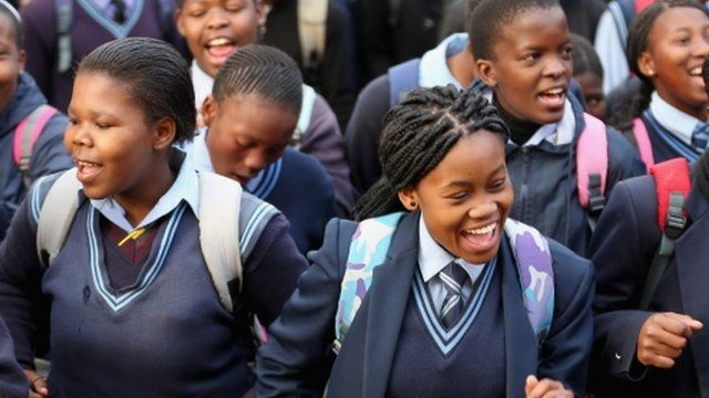 Children celebrate in Johannesburg