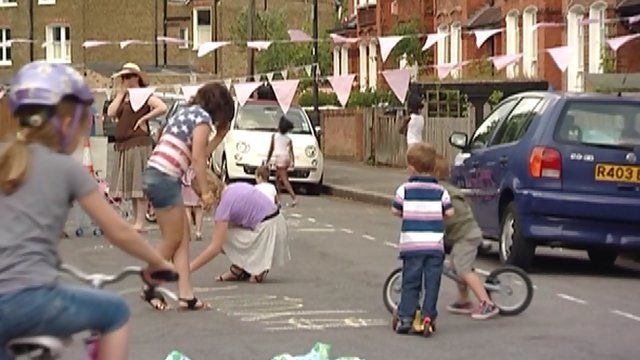 Children playing in the street in Lambeth