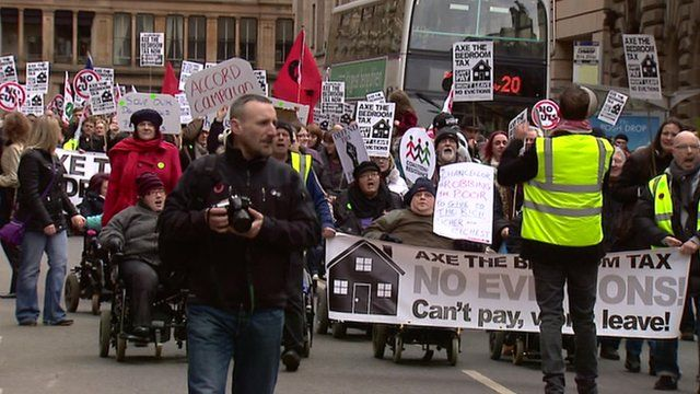 People protesting against the housing benefits cuts