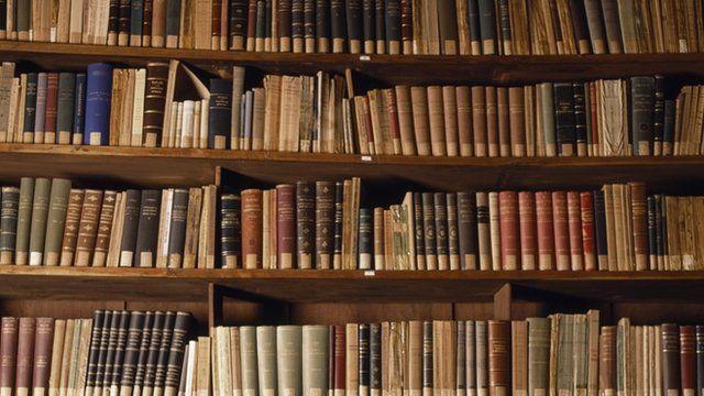 Books on bookcase shelves