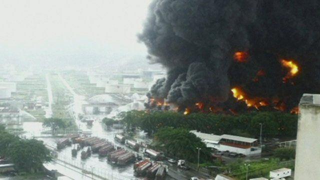 Smoke rising from one of Venezuela's biggest oil refineries