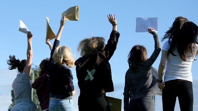 Students hold up their envelopes