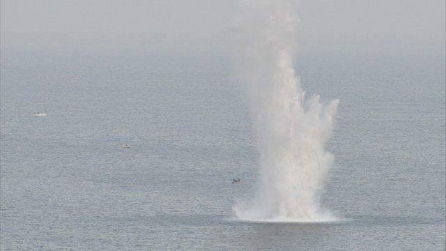 Plume of water caused by the explosion off Guernsey's coast