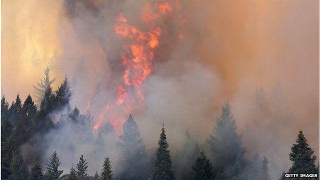 Fire near Yosemite National Park