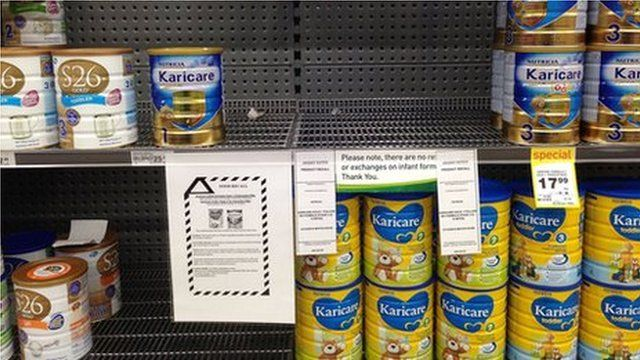 Supermarket shelf in Wellington where Fonterra infant formula has been removed