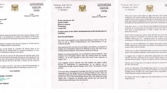 A covering letter and open letter dated 29/08/2013 from Jihad Allaham, Speaker of the Syrian Parliament, to John Bercow, Speaker of the British Parliament