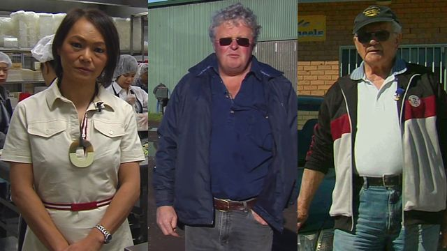 Australian voters Nahji Chu, Michael Roache and Cecil Handford