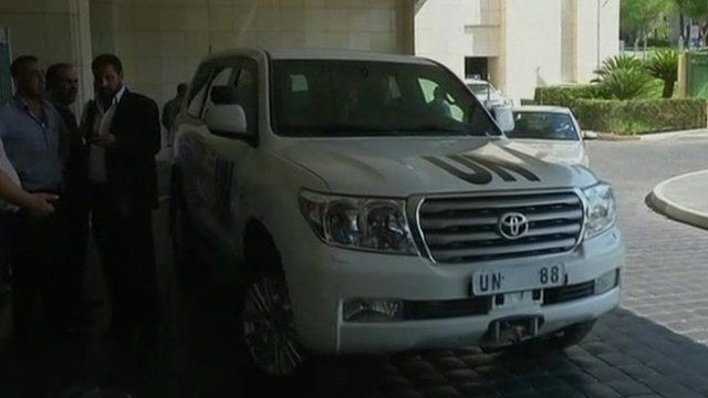 UN vehicle in Damascus