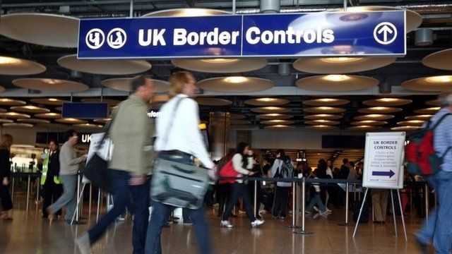People at Heathrow border control point