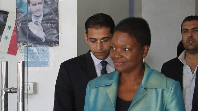 UN humanitarian official Valerie Amos leaves a meeting with Syrian officials in Damascus