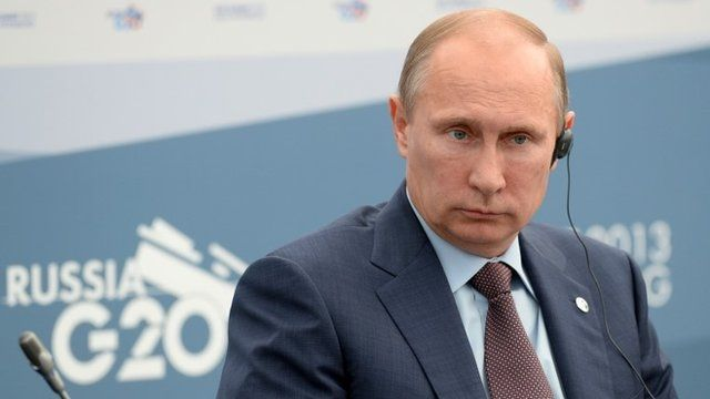Russian President Vladimir Putin attends a meeting with Business 20 and Labour 20 representatives at the G20 Summit on September 6, 2013 in St. Petersburg, Russia