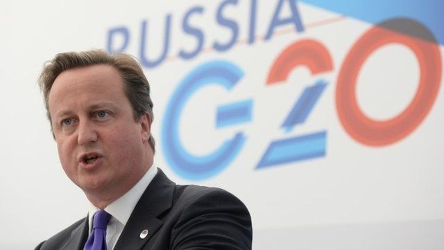 British Prime Minister David Cameron gives a press conference at the end of the G20 summit on September 6, 2013