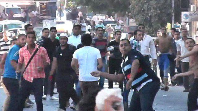 Street clashes in Alexandria, Egypt