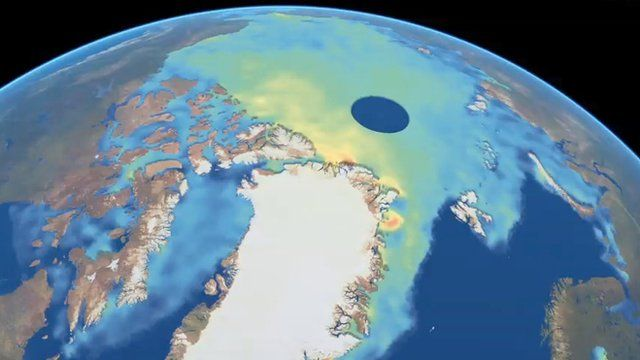 Artist's rendition of Arctic sea-ice thickness (April 2013)