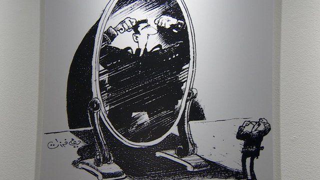 Black and white cartoon of Bashar al-Assad