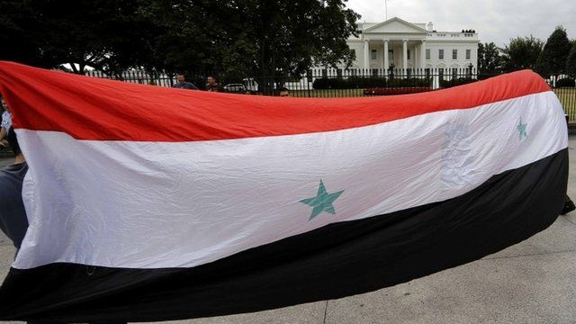 Syrian-American demonstrators carry a Syrian flag past the White House
