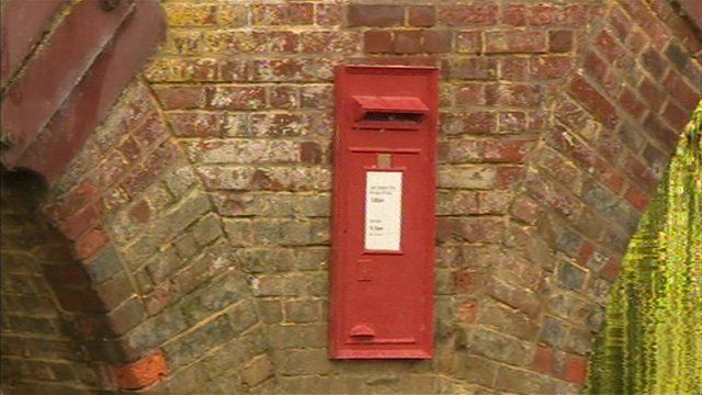A postbox on the Sonning Bridge