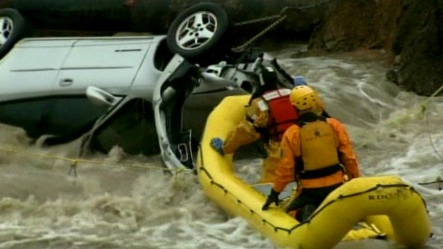 Submerged car in Colorado flood