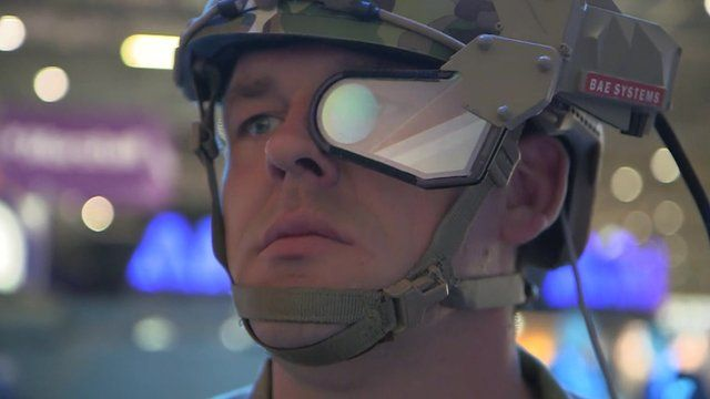 Soldier wearing Q Warrior helmet-mounted display, developed by BAE Systems