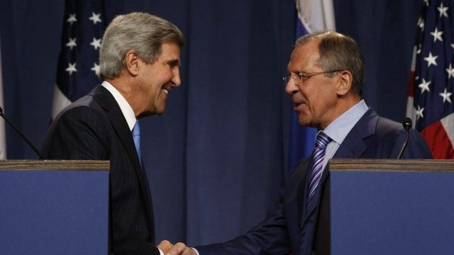 US Secretary of State John Kerry (L) and Russian Foreign Minister Sergey Lavrov