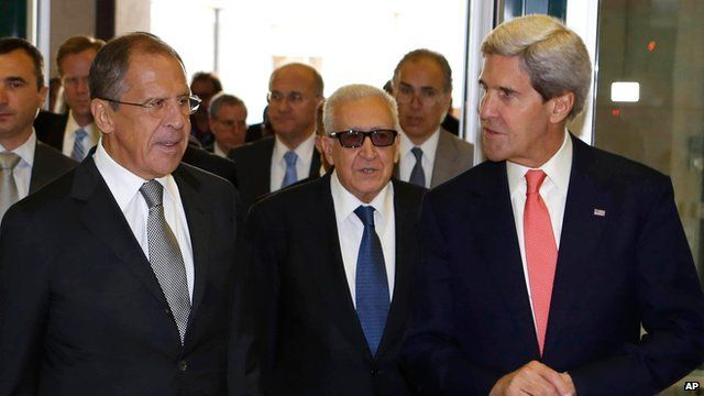 US Secretary of State John Kerry, right, Russian Foreign Minister Sergey Lavrov, left