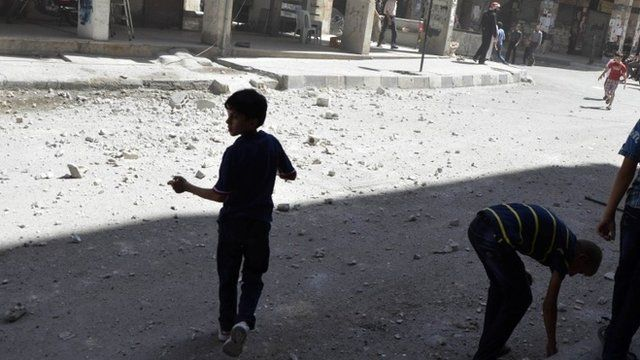 Children run after hearing what activists said was shelling
